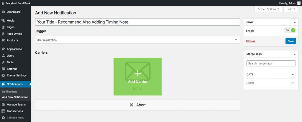 Notifications feature new email editor step 2